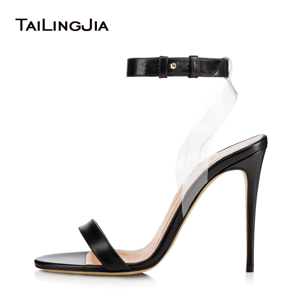 Sliver Dress Heels with Women Gold High Heel Strappy Sandals Black Stiletto Summer Shoes PVC Transparent Shoes Wholesale 2018