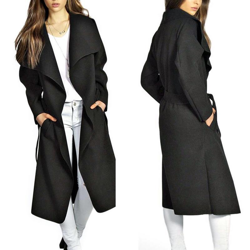 2018 Winter Coat Women Wide Lapel Belt Pocket Coat Oversize Long Red Khaki Black   Trench   Coat Outwear Coat Women
