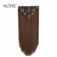 YILITE 18 дюймовые трессы Remy человеческих волос на зажимах в наращивание волос, европейские зажимы в пряди прямых волос Бесплатная доставка