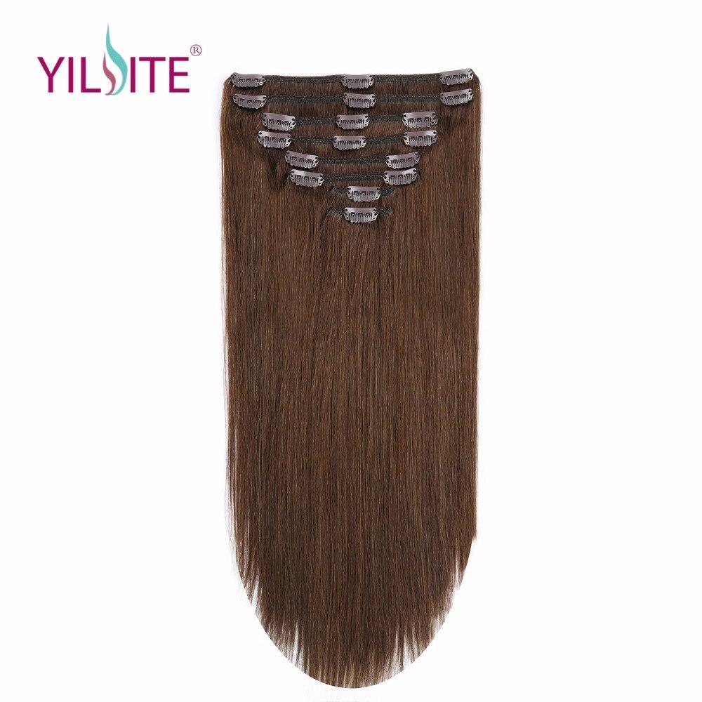 YILITE 18 дюймов двойной нарисованный Remy человеческие волосы на зажимах в наращивание волос, европейские зажимы в прямой волос Уток Бесплатная ...