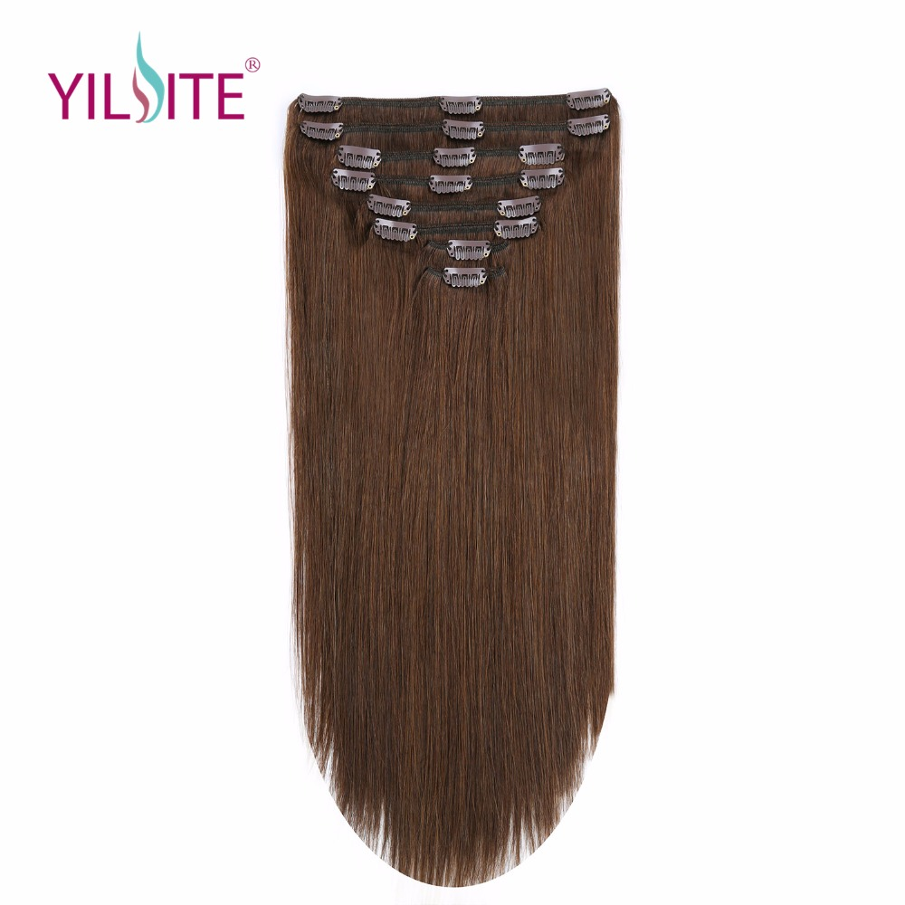 YILITE 18 pouces Double Drawn Remy Clips de Cheveux Humains dans les Extensions de Cheveux, européenne Clips dans Cheveux Raides Trame Livraison gratuite