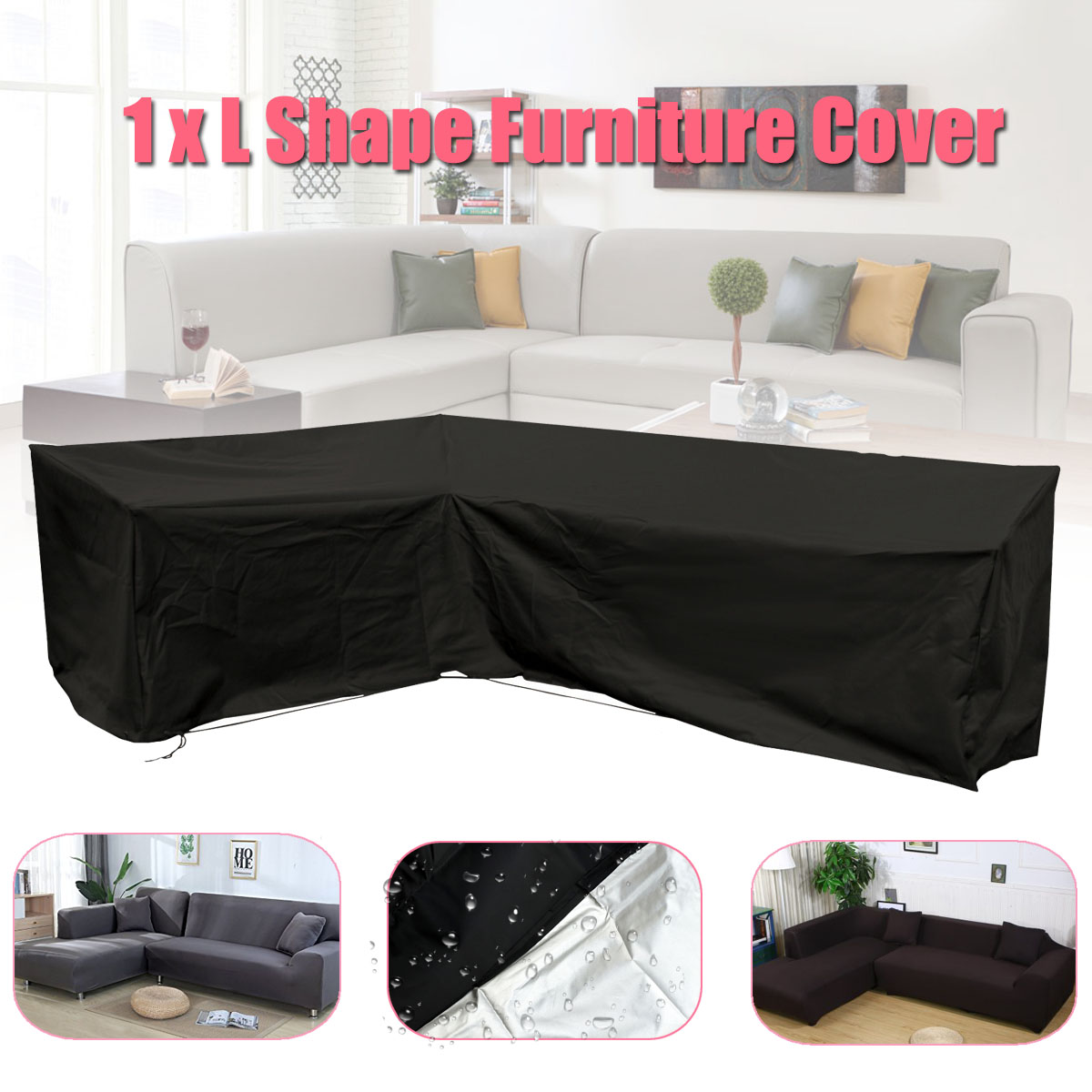 Beautiful 2pcs Garden Furniture L Shape Sofa Cover Slipcover Polyester Piano Sofa Couch Covers Living Room Outdoor Waterproof Dustproof Household Merchandises