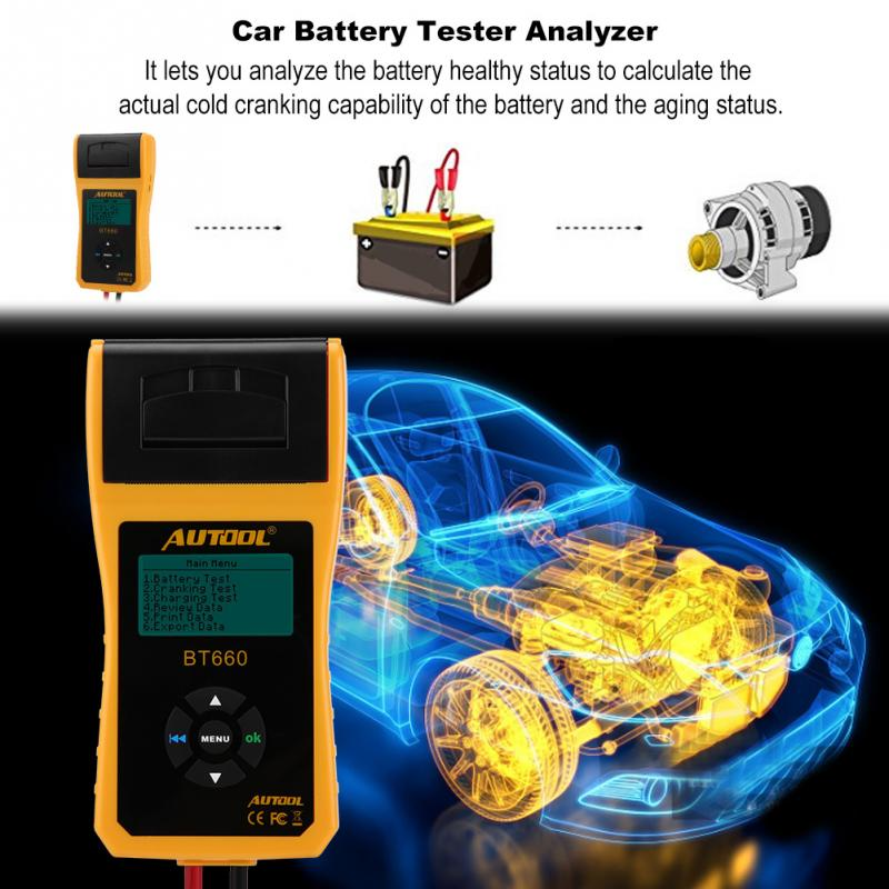 Car Battery Tester Digital Automotive Car Battery Load Tester Analyzer Test with Printer Multi-language Analyzer Voltage 12VCar Battery Tester Digital Automotive Car Battery Load Tester Analyzer Test with Printer Multi-language Analyzer Voltage 12V