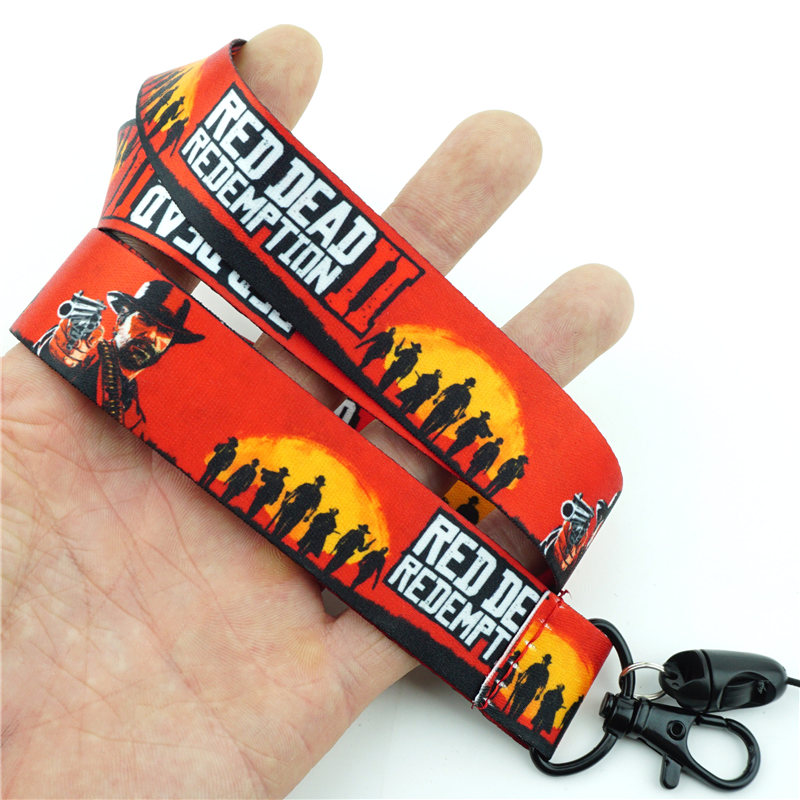 Card Red Dead Redemption 2 Lanyard Neck Strap Charms Cell Phone Rope KeyChain
