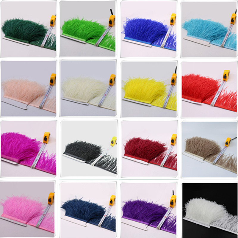 10 meters 10 15CM ostrich feather ribbon trims wedding decoration arts crafts sewing DIY plumes Clothing dress Accessories