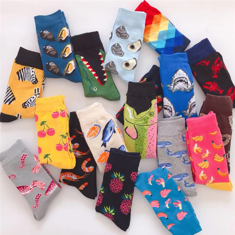 PEONFLY Hot Fashion Men's Combed Cotton Wedding   Socks   Casual Business Crew   Sock   Colorful Happy   Socks   Fruit Pattern Novelty