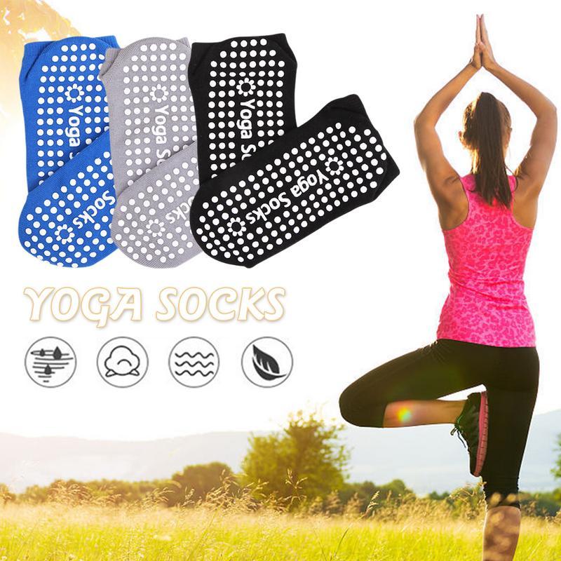 ✔  Yoga Socks Силиконовые нескользящие пилатес Barre дышащие спортивные напольные носки с ручками Katoe ✔