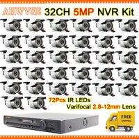 Быстрая Доставка высокое Разрешение 32CH 5MP NVR комплект с 32 шт. с переменным фокусным расстоянием 2,8 12 мм объектив 5MP IP Камера видео наблюдения С