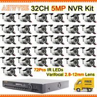 Fast Shipping High Resolution 32CH 5MP NVR Kit with 32pcs Varifocal 2.8 12mm Lens 5MP IP Camera Video Surveillance System