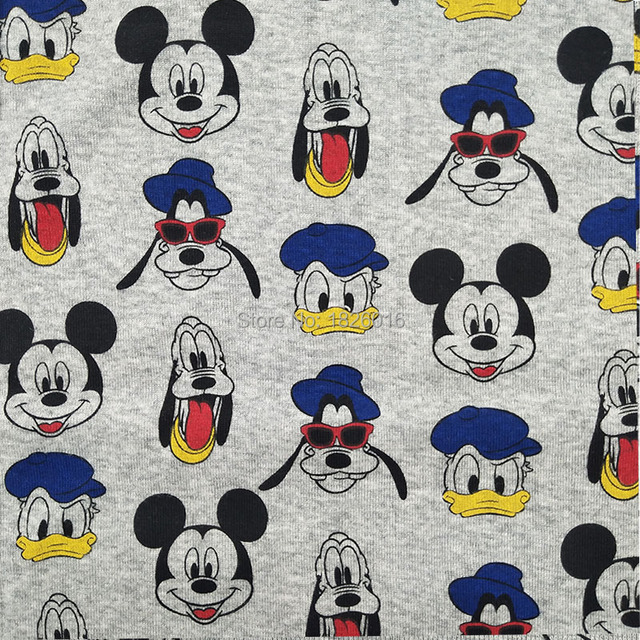 3b7dfe8cc27 ZENGIA Donald Duck Mickey Jersey fabric cotton knitting cloth  spandex/elastic fabric For Baby clothes/DIY Craft Knitted Fabrics
