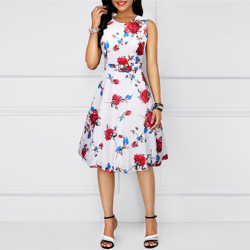 2e9fd8d5846 Women Dresses Vintage OL Ladies Sweet Elegant Sexy Aline Red Hot High Waist  Floral Print Summer