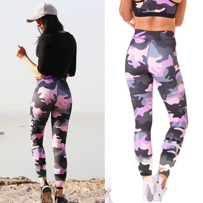 Womens Casual Stretchy   Leggings   Camouflage Sport Gym Jogging Pants Trousers