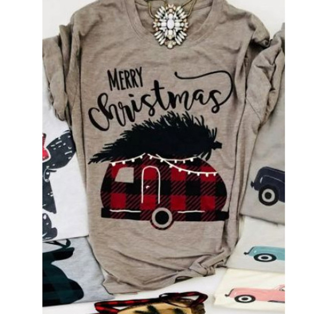 Christmas Tops.Us 8 91 30 Off Friends Tv Show Merry Christmas Letter Printing Plaid Car T Shirts Women S Casual Fashion Short Sleeve Tee Female Christmas Tops In