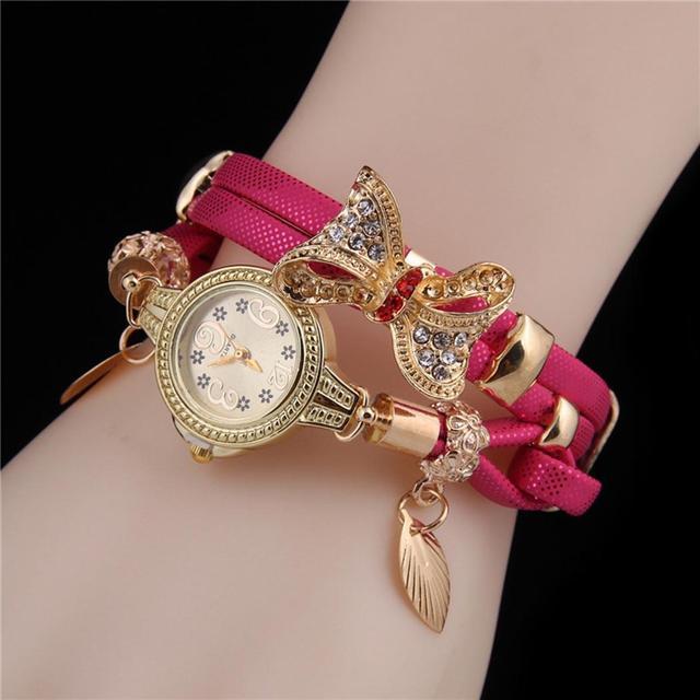 Women Butterfly Rhinestone Round Quartz Analog Bracelet Watch Wristwatch Waistwa