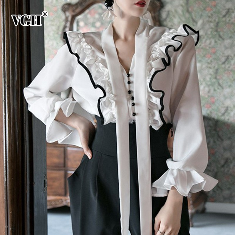 VGH Spring Winter Ruffles White Blouse Women's Shirts V Neck Flare Sleeve Hit Color Ribbon Blouses Tops Female 2019 Korean New