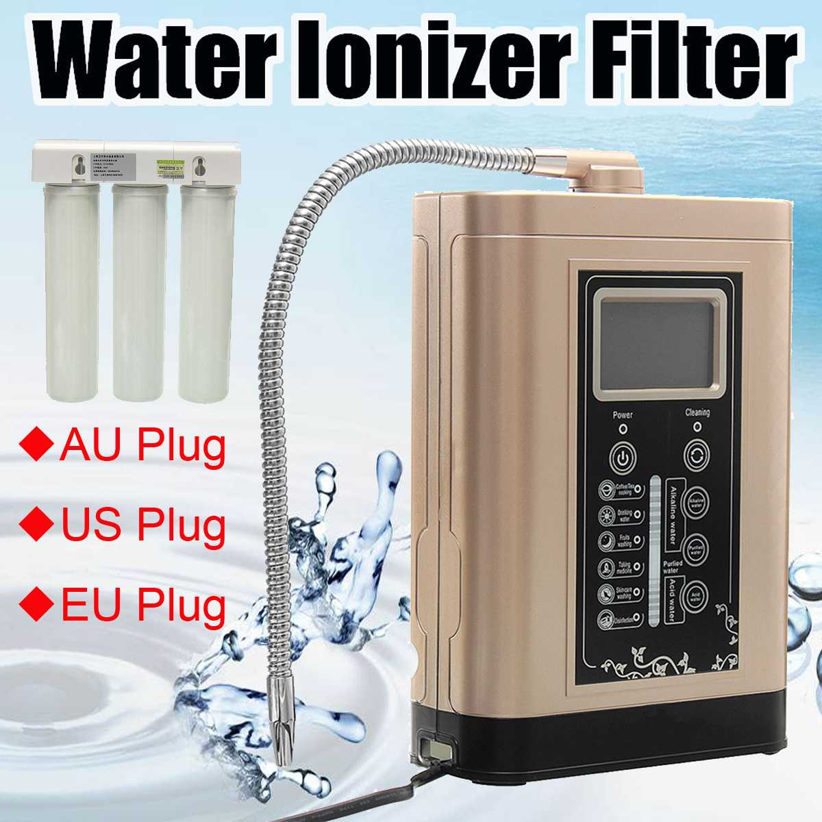 Water Ionizer Purifier Machine Alkaline Acid Waters Filter LCD Touch Control