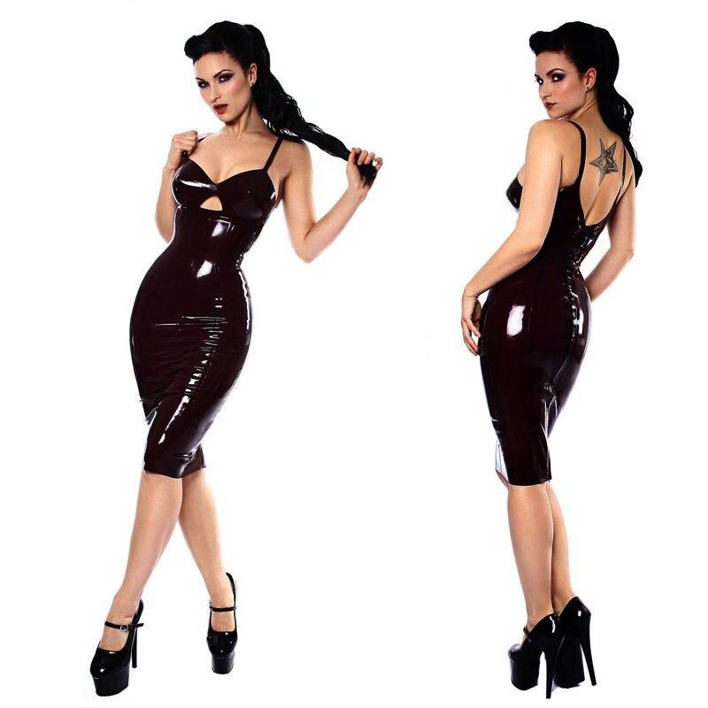PVC Leather Wet Look Bodycon Sheath Erotic Nightclub DS Dress