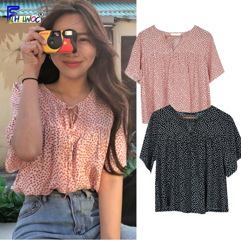 Cute Sweet Bow Tie Tops Women Summer Short Sleeve Casual Loose Preppy Girls Japan Style Design Printed Chiffon   Blouse     Shirt   Pink