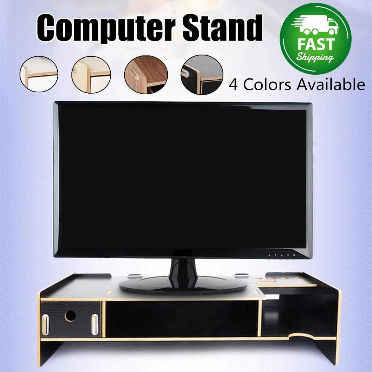 Desktop Monitor Stand Computer Screen Riser Wooden Shelf Plinth Strong Laptop Stand Desk Holder For Notebook TV Multifunction