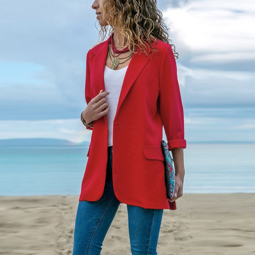 2019 New Fashion Women Autumn Suit Long Sleeve Casual Solid Color Open  Front Coat
