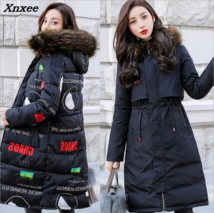 Winter women long down cotton   parkas   with hooded fur collar print two sides wear thicken jacket coat warm outerwear Xnxee