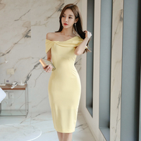 Comelsexy Sexy Off Shoulder Pencil Knee Ol Dress Summer Yellow Bodycon Dress Office Ladies Women Slash Neck Sheath Slim Dress