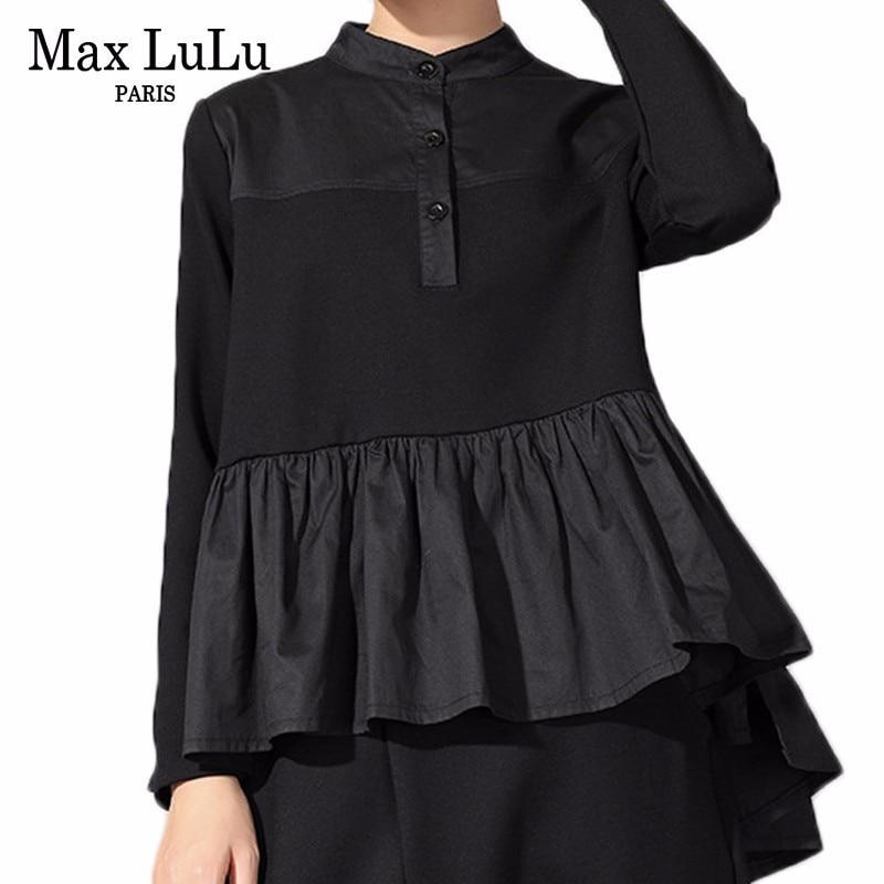 Max LuLu New 2019 Spring Fashion European Ladies Tops Tees Womens Black Cotton Long Sleeve T Shirts Vintage Female Casual Tshirt