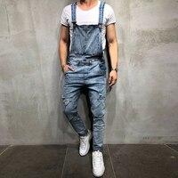 S 3XL Fashion Men's Jeans Jumpsuits Man Ripped Hole Street Denim Bib Overalls Cargo Jumpsuit Suspenders Trousers Men Denim Pant