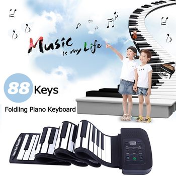 цена на KONIX PA88 Portable 88 Keys Keyboard Piano 140 Tones Electronic Folding Roll Up MIDI Piano Built-in Speaker with Battery