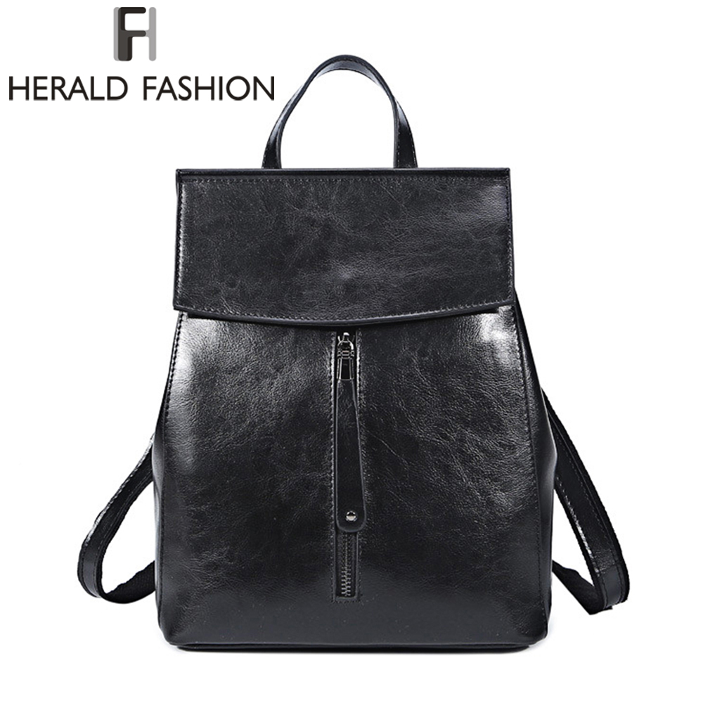 HERALD FASHION Women Genuine Leather Backpack Vintage Cow Split Leather School Bag for Teenage Girl Luxury Female Travel Bags new korea fashion genuine leather bag women backpack leather school backpack female women travel backpack for girl free shipping
