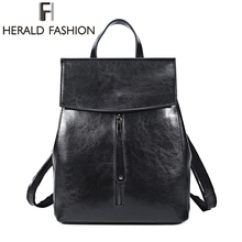 HERALD FASHION Women Genuine Leather Backpack Vintage Cow Split Leather School Bag for Teenage Girl Luxury Female Travel Bags new fashion genuine leather women s backpack natural teal cow leather girl s backpacks cowhide school bags
