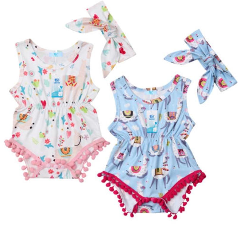 US Summer Newborn Baby Girls Clothes Lace Tassel Romper Jumpsuit Bodysuit Outfit