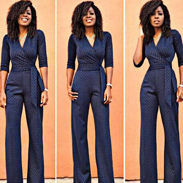 New Elegant Lace Blue Jumpsuit for Women Formal Business High Waist Elastic Lace Up Pants 2019 Fashion Women Siamese Trousers