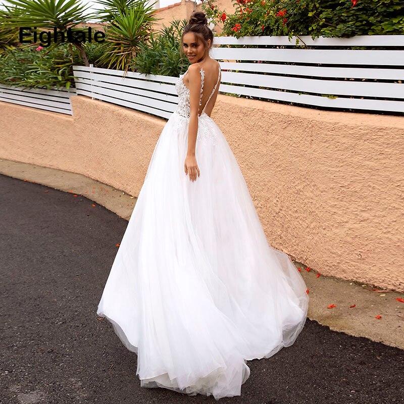 Eightale Princess Wedding Dresses 2019 Sexy V- Neck Appliqued Boho Bride Dress Backless High Side Split Tulle Wedding Gown