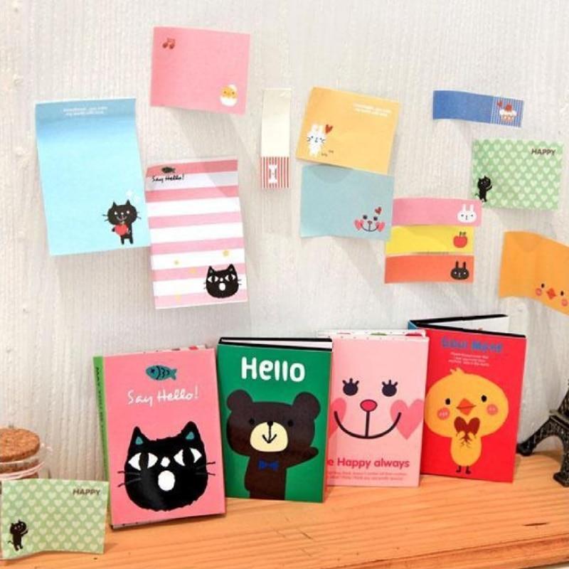 Симпатичные Мультяшные животные кошка Медведь четыре складки блокнот для записей складные самоклеящиеся блокноты кавайные стикеры для де...