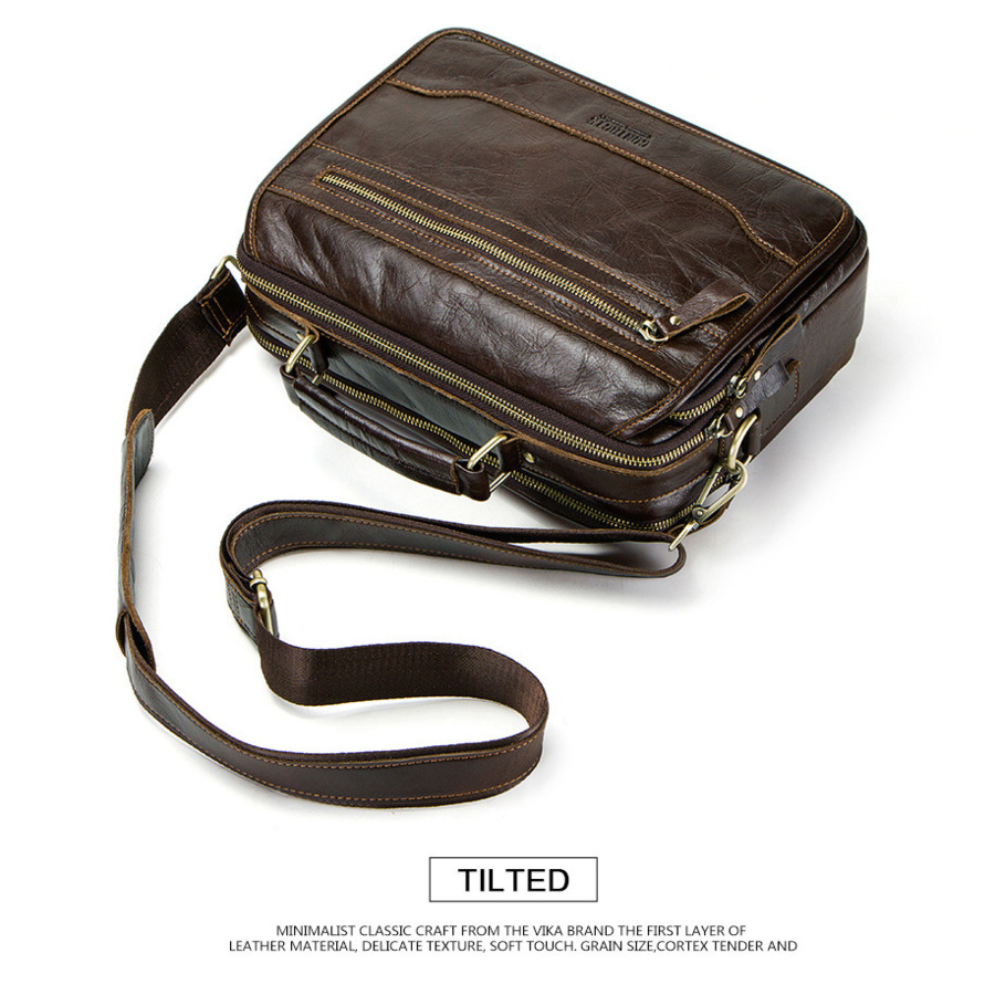 New men s 100 real Leather Vintage Man Single shoulder small messenger bag Cowhide Male crossbody