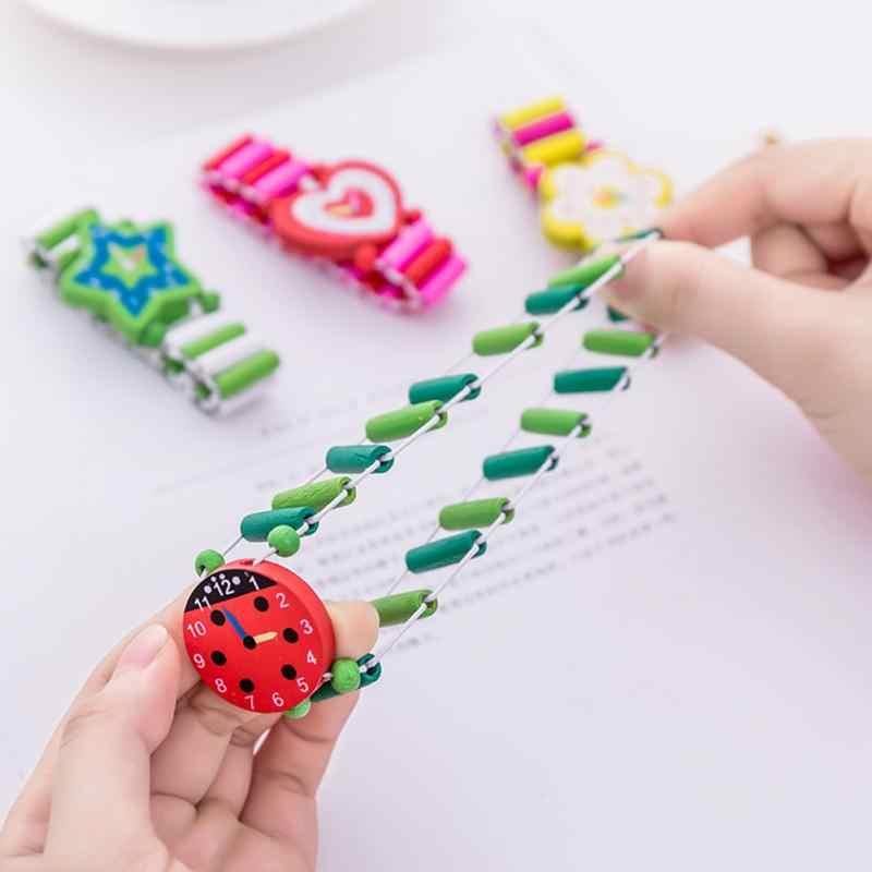 Nueva venta caliente de los niños bebé de dibujos animados de artesanía de madera relojes de pulsera reloj pulsera de juguetes estudiante para niños niñas regalos