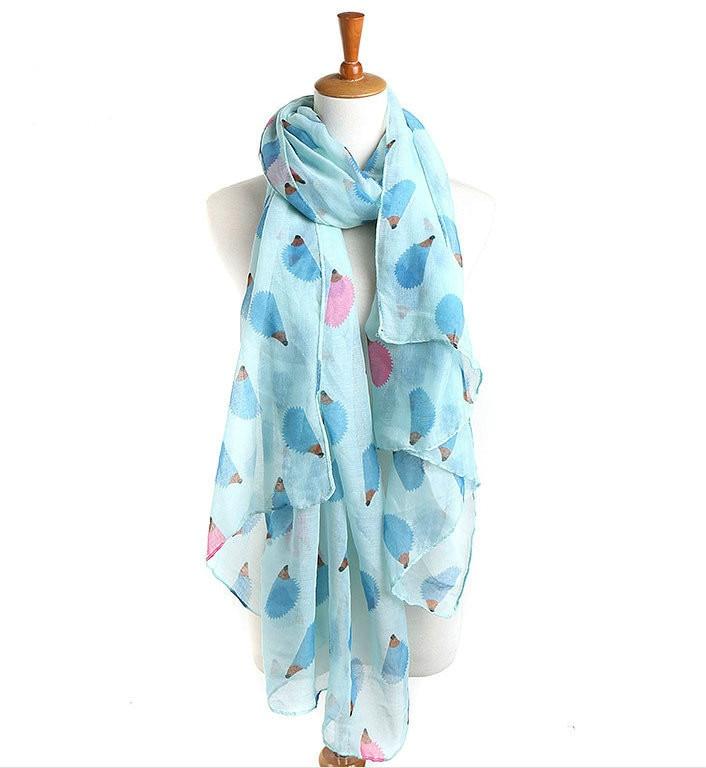 Women Hedgehog Printing Voile   Scarf     Wraps   Shawl Headscarf Blanket lady Shawl Chiffon   Scarves   lenco feminino Tippet shawl echarpe