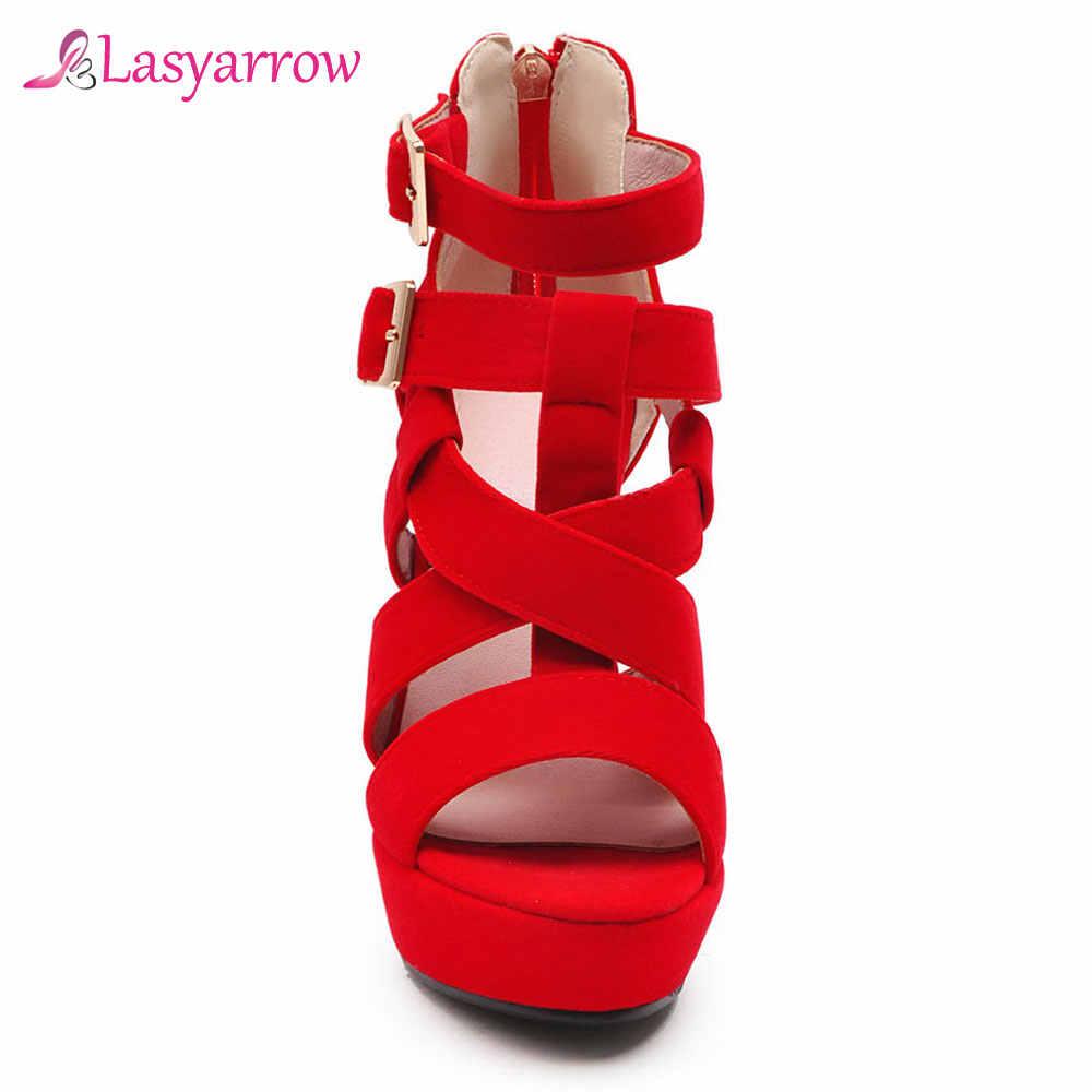 Lasyarrow 2019 Ayak Bileği Kayışı Çapraz Bağlı Tasarım yüksek topuklu sandalet Kadın Parti Düğün Bayanlar platform ayakkabılar Yaz Siyah Kırmızı J754