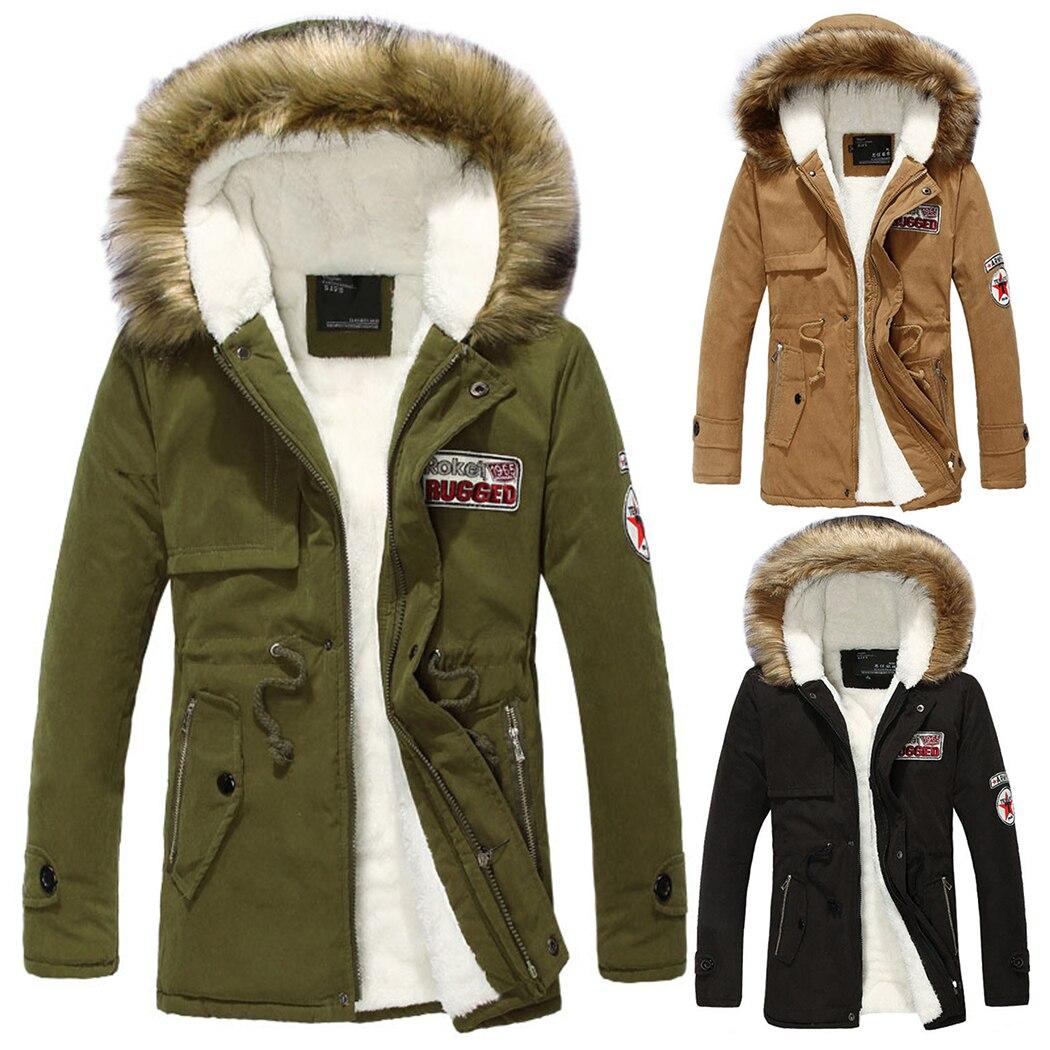 New Winter Jacket Parka Men Coats Slim Zipper Thicken Fur Hooded Outwear Warm Coat Top Brand Clothing Casual Men's Fleece Coat