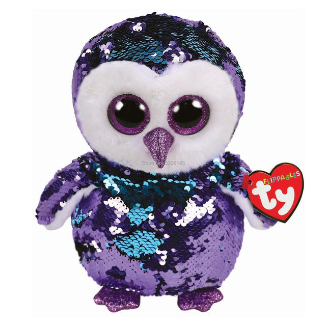 346f5746e2a 25CM Ty Flippables Moonlight Purple Sequin Owl Beanie Boos Reversible Sequin  Limited Edition Soft Plush Doll