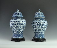 One Pair Chinese Decorative Antique Imitation Blue and White Ceramic Porcelain Ginger Jars Temple Jars