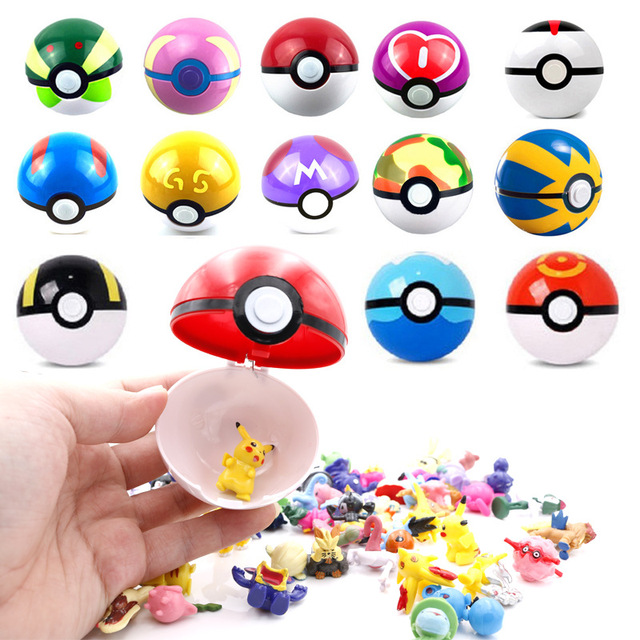 13pcs 7 CM Pet Elf Ball Pocket Monster Pokemon Pet Figurines Treasure Can Dream Toys Bedroom furnishings for home children