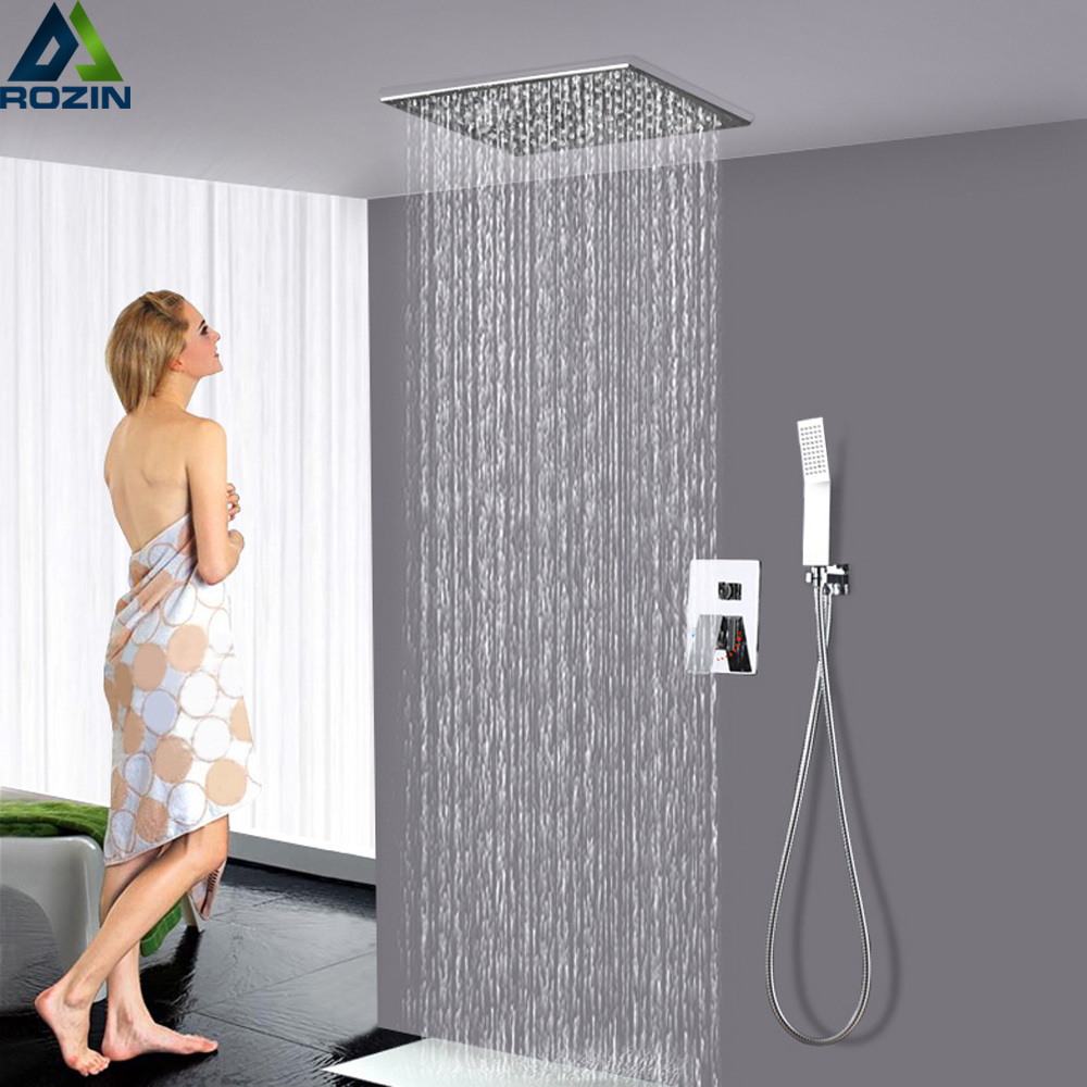 Polished Chrome Shower Faucet Set Stainless Steel 12