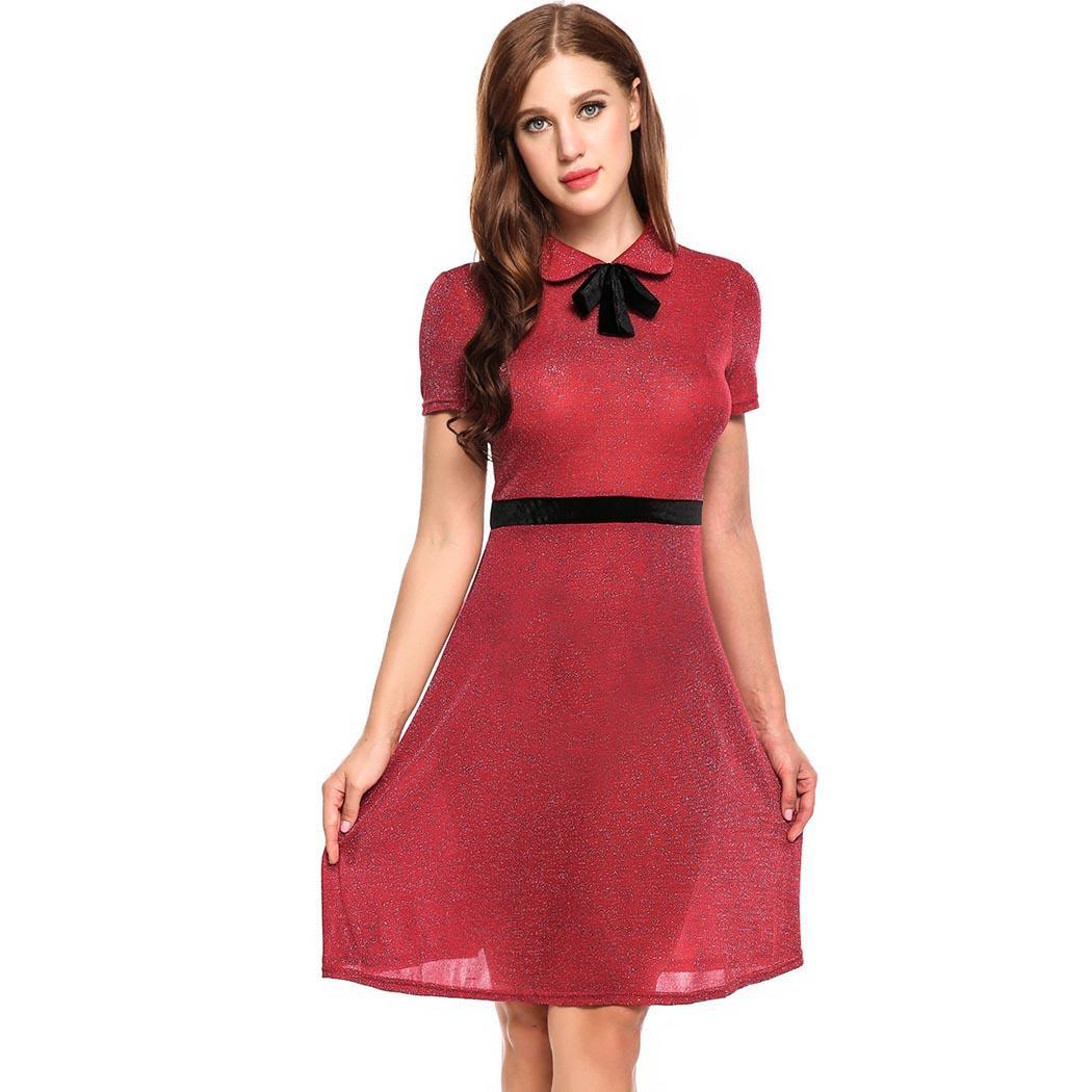 Weddings & Events Alofa Women Cocktail Dress Elegant Peter Pan Collar Bow Short Sleeve Glitter A-line Vestidos Party Gown Homecoming Dresses Meticulous Dyeing Processes