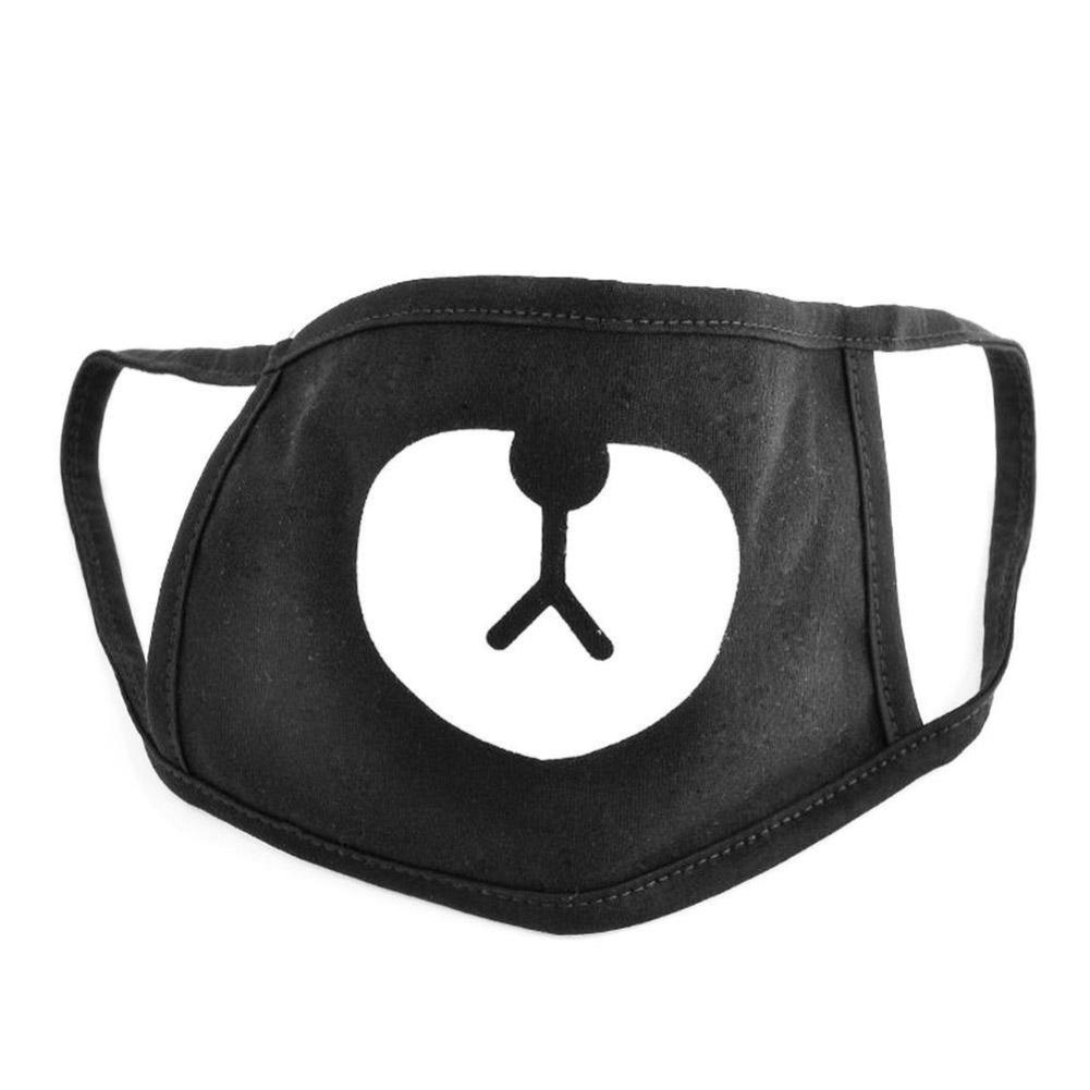 1 Pcs Cotton Mouth Face Mask Unisex Korean Style Kpop Black Bear Cycling Anti-Dust Cotton Mouth Mask Face Respirator
