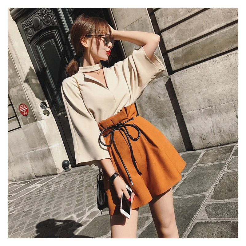 2019 Summer Elegant Temperament Tops And High Waist Wide Leg Shorts Two Pieces Set Casual Plus Size Chiffon Suits in Women 39 s Sets from Women 39 s Clothing