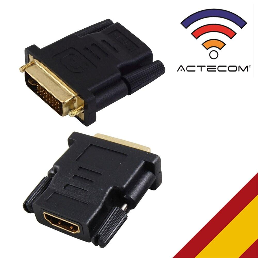 ACTECOM ADAPTADOR CONVERSOR HDMI HEMBRA A DVI-I 24 + 5 MACHO CONECTOR