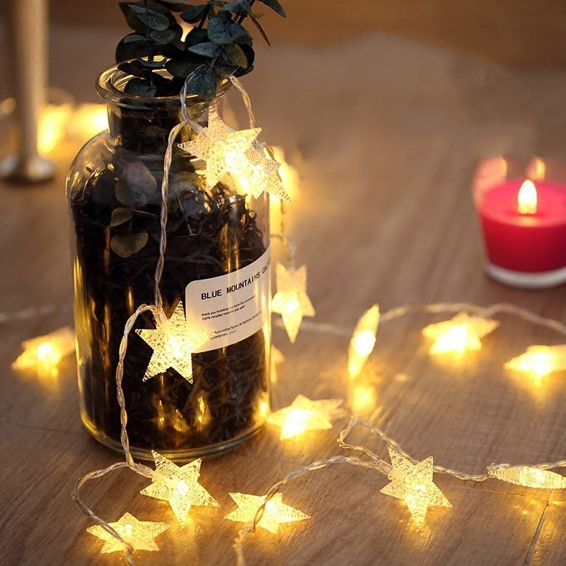 <font><b>10</b></font>/20/40/50 <font><b>LED</b></font> Star <font><b>Light</b></font> String Twinkle Garlands Battery Powered Christmas Lamp Holiday Party Wedding Decorative <font><b>Fairy</b></font> <font><b>Lights</b></font> image