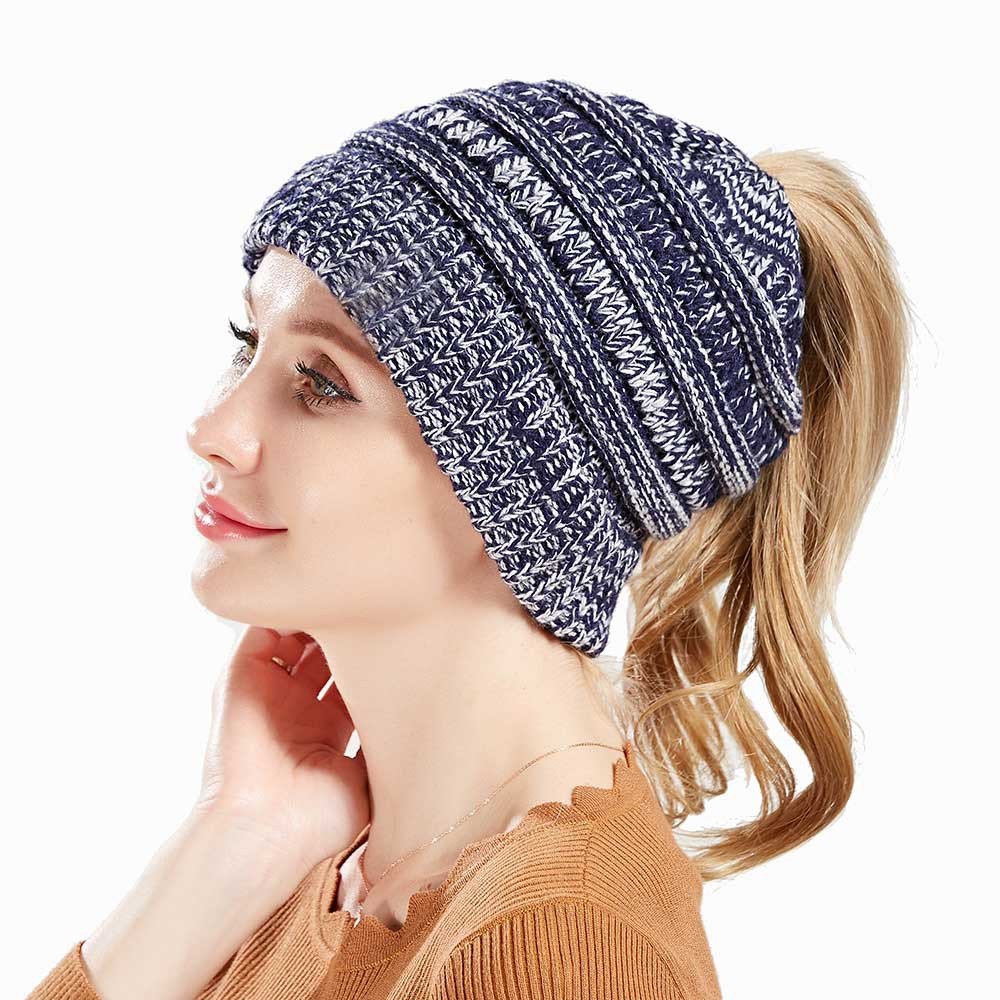 Fashion Ponytail   Beanie   Winter Hats for Women Crochet Knit Cap   Skullies     Beanies   Warm Caps Female Knitted Stylish Hat Ladies